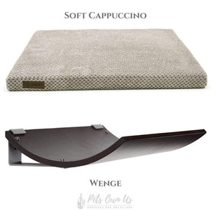 Cosy and Dozy Cat Shelf- Bed Soft Cappuccino CHILL Cat Shelf & Perch By Cosy and Dozy - Wenge (Cushions available in Multiple Colours) PetsOwnUs - Pets Own Us