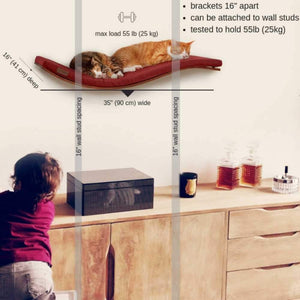 Cosy and Dozy Cat Shelf- Bed Soft Cappuccino CHILL DELUXE Cat Shelf & Perch By Cosy and Dozy - Maple (Cushions available in Multiple Colours) PetsOwnUs - Pets Own Us