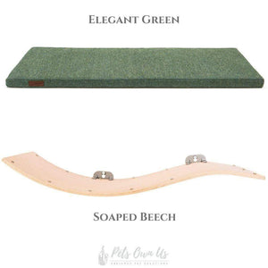 Cosy and Dozy Cat Shelf- Bed Elegant Green CHILL DELUXE Cat Shelf & Perch By Cosy and Dozy - Soaped Beech (Cushions available in Multiple Colours) PetsOwnUs - Pets Own Us