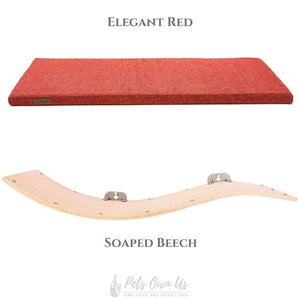 Cosy and Dozy Cat Shelf- Bed Elegant Red CHILL DELUXE Cat Shelf & Perch By Cosy and Dozy - Soaped Beech (Cushions available in Multiple Colours) PetsOwnUs - Pets Own Us