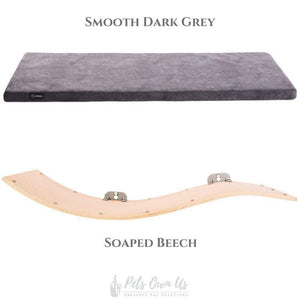 Cosy and Dozy Cat Shelf- Bed Smooth Dark Grey CHILL DELUXE Cat Shelf & Perch By Cosy and Dozy - Soaped Beech (Cushions available in Multiple Colours) PetsOwnUs - Pets Own Us
