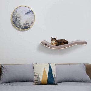 Cosy and Dozy Cat Shelf- Bed Soft Cappuccino CHILL DELUXE Cat Shelf & Perch By Cosy and Dozy - Soaped Beech (Cushions available in Multiple Colours) PetsOwnUs - Pets Own Us