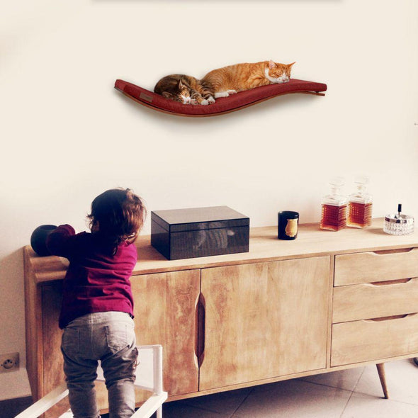 Cosy and Dozy Cat Shelf- Bed Soft Cappuccino CHILL DELUXE Cat Shelf & Perch By Cosy and Dozy - Walnut (Cushions available in Multiple Colours) PetsOwnUs - Pets Own Us