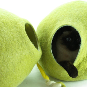 Cosy and Dozy Cat Cave KIVIKIS Luxury Cat Cave by Cosy & Dozy - Birch Green PetsOwnUs - Pets Own Us