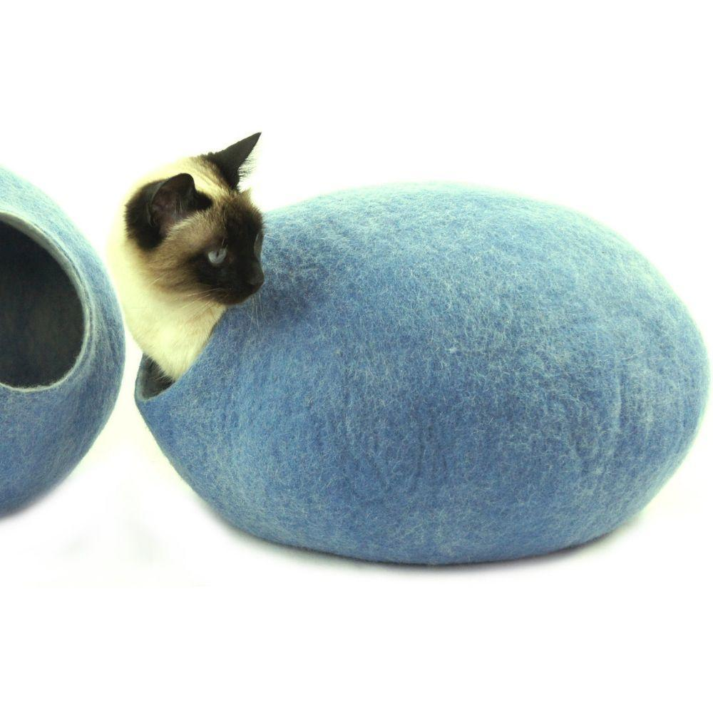 Cosy and Dozy Cat Cave KIVIKIS Luxury Cat Cave by Cosy & Dozy - Sky Blue PetsOwnUs - Pets Own Us