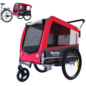 DoggyHut 3 wheel dog strollers 2-in-1 Dog Bike Trailer & Jogger Stroller | X Large | Veelar by DoggyHut® | Red 8020501 PetsOwnUs - Pets Own Us
