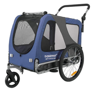 DoggyHut 3 wheel dog strollers 2-in-1 Dog Stroller Jogger & Bike Trailer | Large >40kg | DoggyHut® 2020 Premium | Blue 8010503 PetsOwnUs - Pets Own Us