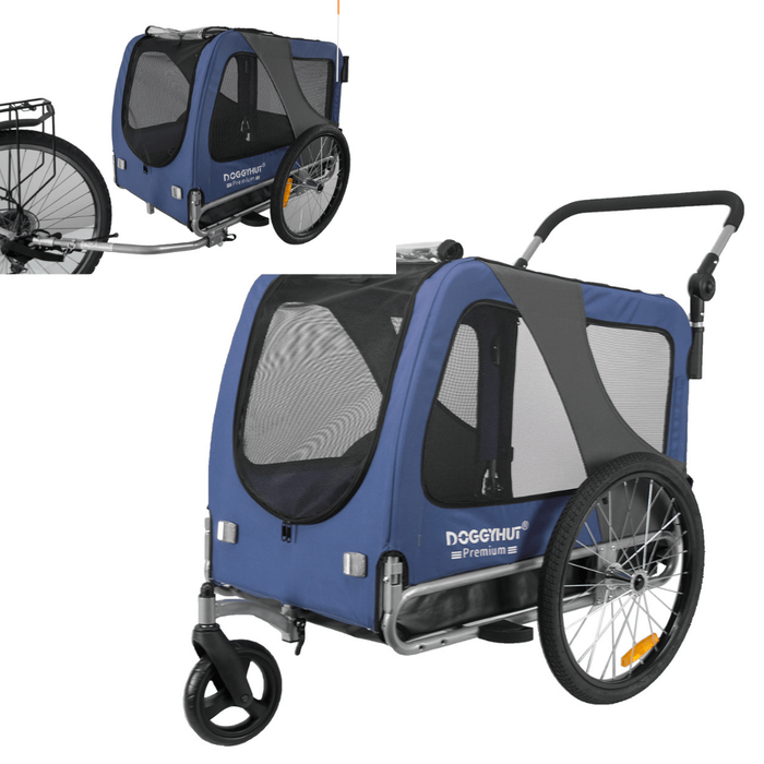 2-in-1 Dog Stroller Jogger & Bike Trailer | Large >40kg | DoggyHut® 2020 Premium | Blue