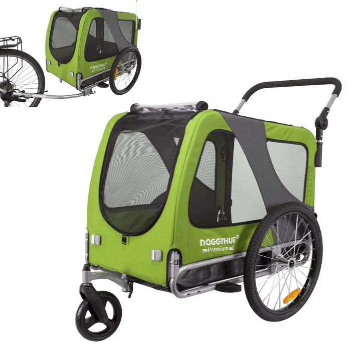 2-in-1 Dog Stroller Jogger & Bike Trailer | Large >40kg | DoggyHut® 2020 Premium | Green