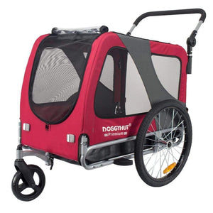 DoggyHut 3 wheel dog strollers 2-in-1 Dog Stroller Jogger & Bike Trailer | Large | DoggyHut® 2020 Premium | Red 8010501 PetsOwnUs - Pets Own Us