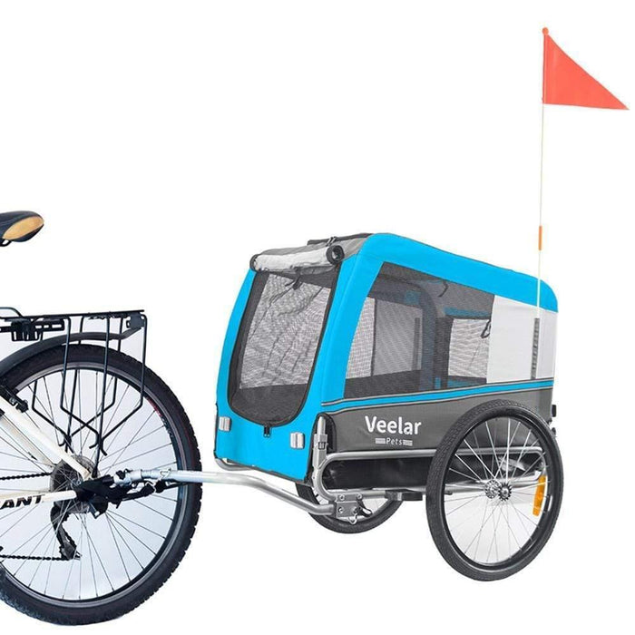 Dog Bike Trailer | X Large >40kg | Veelar by DoggyHut® | Blue