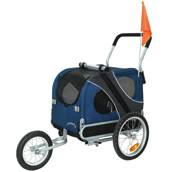 DoggyHut 3 wheel dog strollers Medium Large Dog Stroller Jogger Bike Trailer by DoggyHut - Blue 10201 PetsOwnUs - Pets Own Us