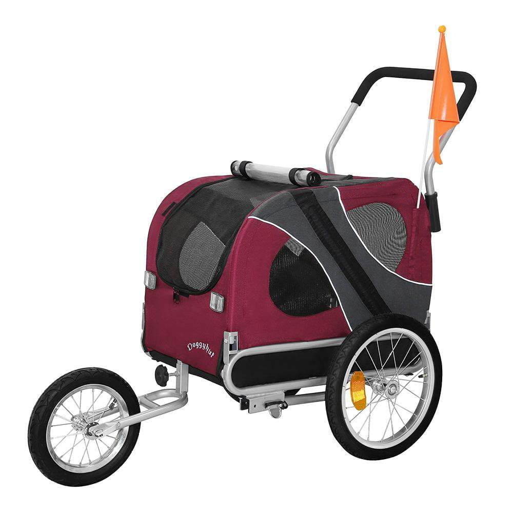 DoggyHut 3 wheel dog strollers Medium Large Dog Stroller Jogger Bike Trailer by DoggyHut - Red 10201 PetsOwnUs - Pets Own Us