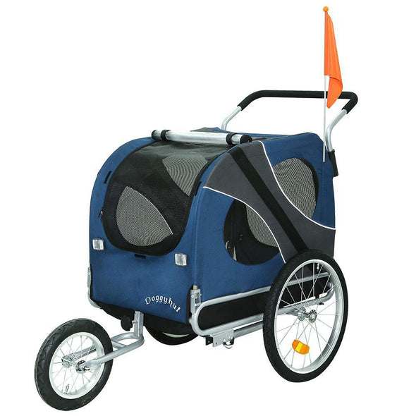 DoggyHut 3 wheel dog strollers X Large Dog Stroller Jogger Bike Trailer by DoggyHut - Blue 10202 PetsOwnUs - Pets Own Us