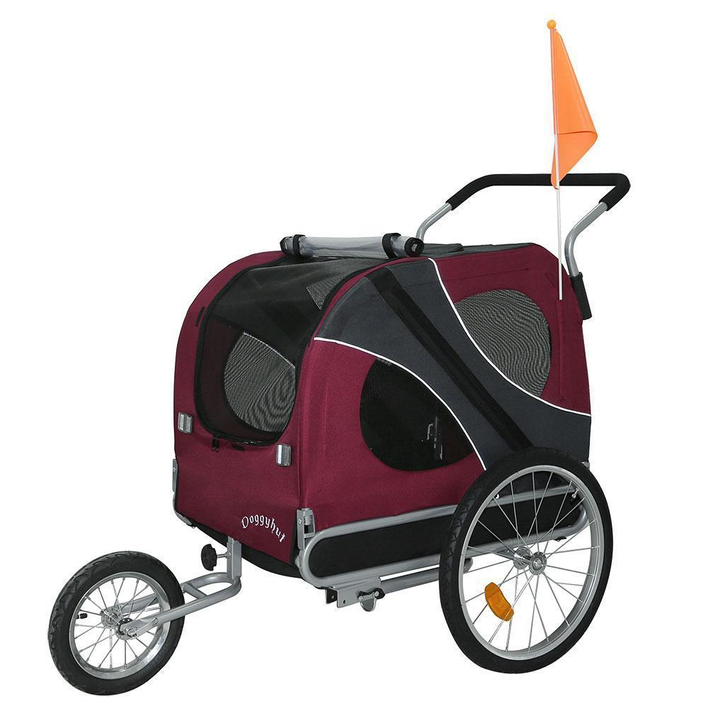 DoggyHut 3 wheel dog strollers X Large Dog Stroller Jogger Bike Trailer by DoggyHut - Red 10202 PetsOwnUs - Pets Own Us