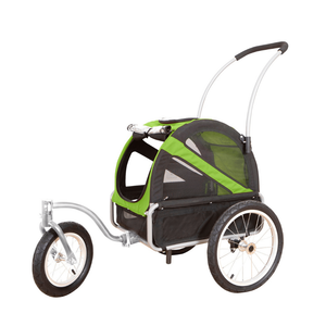 DoggyRide Mini Dog Jogger-Stroller | Green | Dutch Dog Design® [ETA 2021] Pet Pushchairs and Strollers Brand_DoggyRide, Colour_Red, Maximum Loading Weight (kg)_>25kg, Price Range_£200-£300, Terrain_Gravel/Dirt Paths, Type_Bike Trailer, Tyres_AIR Dutch Dog