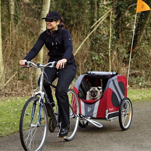 Dutch Dog Pet Pushchairs and Strollers Trailer + Free Leash Set Original DoggyRide Dog Bike Trailer by Dutch Dog - Red (incl. leash set) DRORTR09-RD PetsOwnUs - Pets Own Us