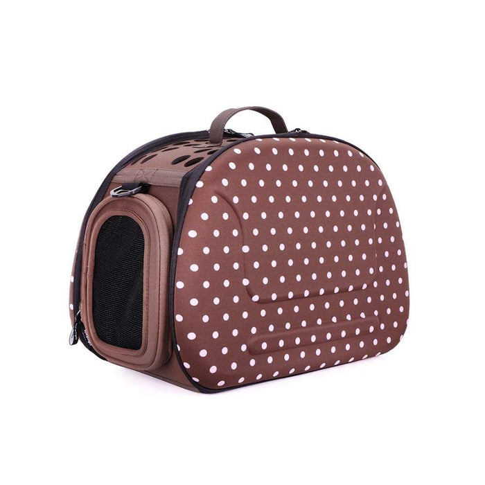 Classic Collapsible Shoulder Pet Carrier by Ibiyaya - Brown