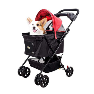 Ibiyaya 4 wheel dog strollers Easy Strolling Pet Buggy by Ibiyaya – Red [ETA end-May] PetsOwnUs - Pets Own Us