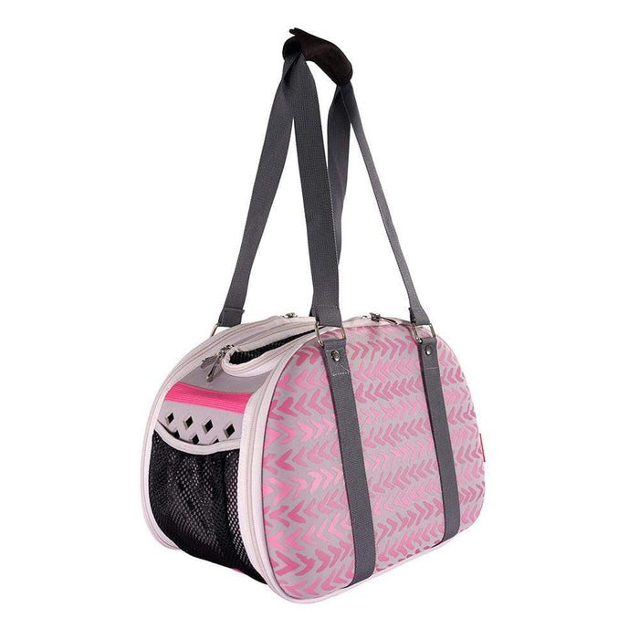 Hardshell Pet Travel Carrier by Ibiyaya - Pink Chevron