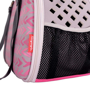 Ibiyaya Pet Carriers and Crates Hardshell Pet Travel Carrier by Ibiyaya - Pink Chevron FC1620-P PetsOwnUs - Pets Own Us