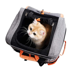 Ibiyaya Pet Carriers and Crates Ibiyaya Two-tier Pet Backpack Pet Carrier - Orange/Grey PetsOwnUs - Pets Own Us