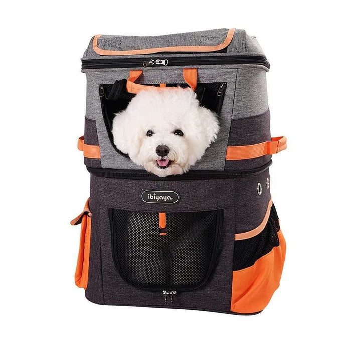 Ibiyaya Two-tier Pet Backpack Pet Carrier - Orange/Grey