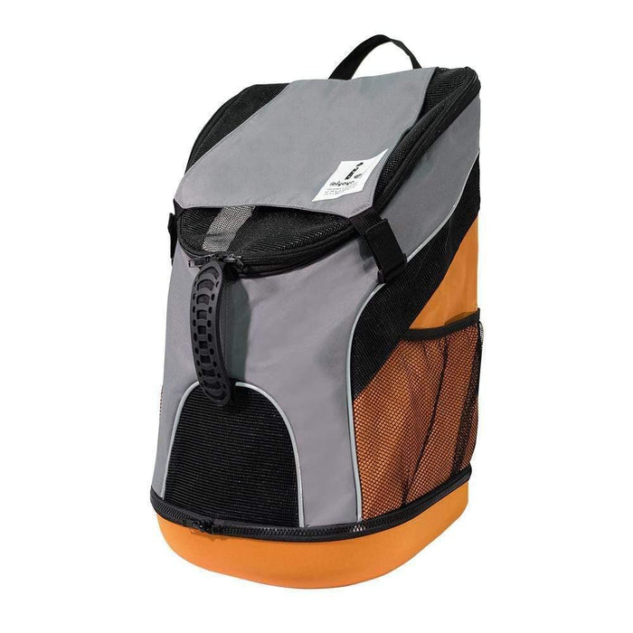 Ultralight Backpack Pet Carrier by Ibiyaya - Grey/Orange