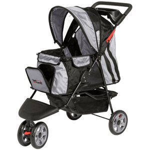 Innopet Pet Pushchairs and Strollers Black Silver All Terrain Buggy Cat Stroller by Innopet IPS-01BS-1 PetsOwnUs - Pets Own Us