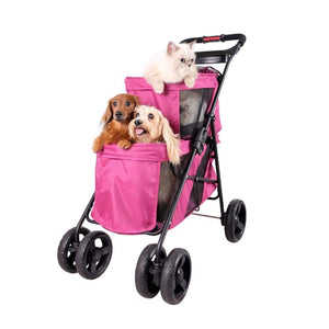 Innopet 3 wheel dog strollers Ibiyaya Double Decker Pet Bus by Innopet – Red Violet PetsOwnUs - Pets Own Us