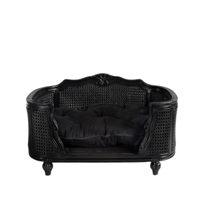 Arthur Luxury Pet Bed by Lord Lou | Black Oak | Rattan | Black Velvet Dog Beds Bed Type_Luxury Dog Beds, Brand_Lord Lou, Collection_Arthur, Lord Lou Luxury Collection, Material_Oak, Size_Large, Size_Medium, Size_Small Lord Lou