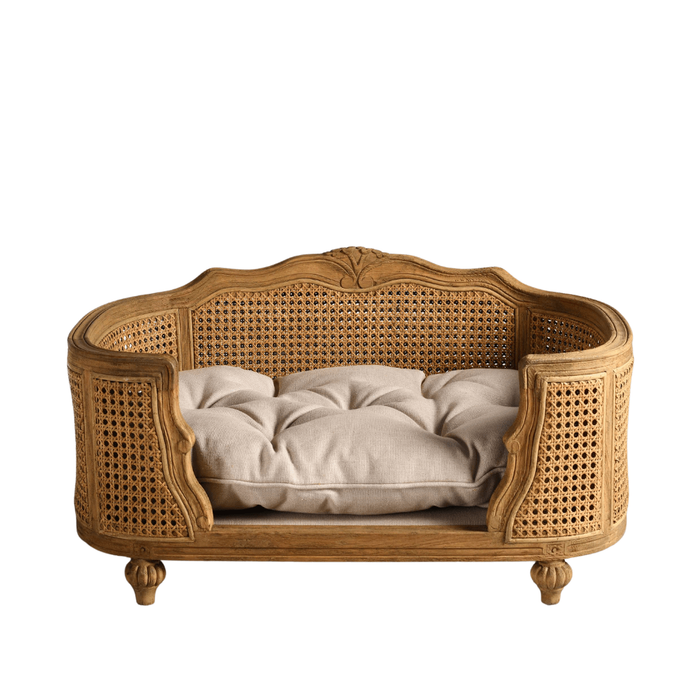 Arthur Luxury Pet Bed by Lord Lou | Oak | Rattan | Linen Ecru