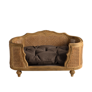 Arthur Luxury Pet Bed by Lord Lou | Oak | Rattan | Charcoal Brown Dog Beds Bed Type_Luxury Dog Beds, Brand_Lord Lou, Collection_Arthur, Lord Lou Luxury Collection, Material_Oak, Size_Large, Size_Medium, Size_Small Lord Lou