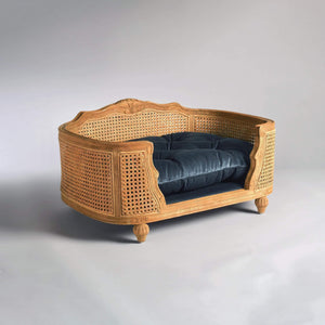 Arthur Luxury Pet Bed by Lord Lou | Oak | Rattan | Royal Blue Velvet Dog Beds Bed Type_Luxury Dog Beds, Brand_Lord Lou, Collection_Arthur, Lord Lou Luxury Collection, Material_Oak, Size_Large, Size_Medium, Size_Small Lord Lou