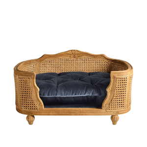 Lord Lou Dog Beds Arthur Luxury Dog Bed by Lord Lou | Oak | Rattan | Royal Blue Velvet PetsOwnUs - Pets Own Us