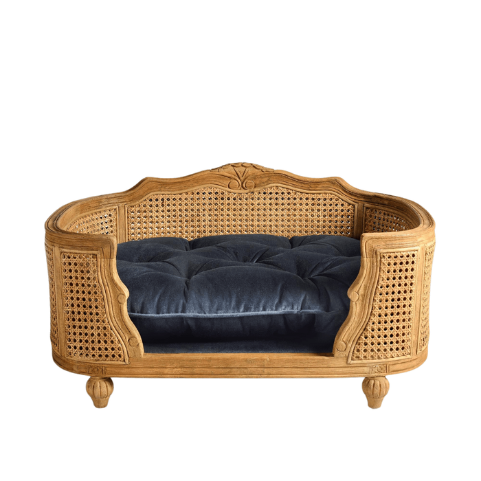 Arthur Luxury Pet Bed by Lord Lou | Oak | Rattan | Royal Blue Velvet