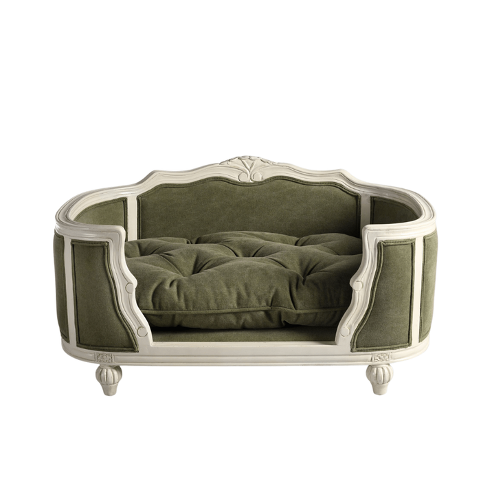 Arthur Luxury Pet Bed by Lord Lou | White Oak | Upholstered | Stonewash Army Green