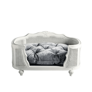Arthur Luxury Pet Bed by Lord Lou | Oak | White Rattan | Silver Grey Velvet Dog Beds Bed Type_Luxury Dog Beds, Brand_Lord Lou, Collection_Arthur, Lord Lou Luxury Collection, Material_Oak, Size_Large, Size_Medium, Size_Small Lord Lou