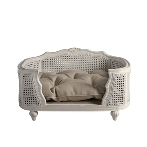 Arthur Luxury Pet Bed by Lord Lou | White Oak | Rattan | Linen Ecru Dog Beds Bed Type_Luxury Dog Beds, Brand_Lord Lou, Collection_Arthur, Lord Lou Luxury Collection, Material_Oak, Size_Large, Size_Medium, Size_Small Lord Lou