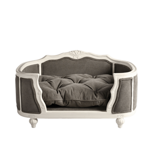 Lord Lou Dog Beds Arthur Luxury Dog Bed by Lord Lou | White Oak | Upholstered | Stonewash Grey PetsOwnUs - Pets Own Us