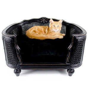 Lord Lou Dog Beds Small Arthur Luxury Webbing Dog Bed by Lord Lou - Black/Black Velvet PetsOwnUs - Pets Own Us