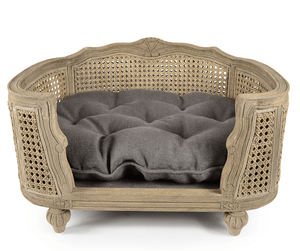 Lord Lou Dog Beds Small Arthur Luxury Webbing Dog Bed by Lord Lou - Natural/Charcoal Brown PetsOwnUs - Pets Own Us