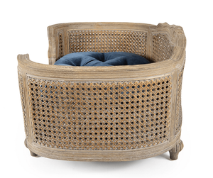 Lord Lou Dog Beds Small Arthur Luxury Webbing Dog Bed by Lord Lou - Natural/Royal Blue Velvet PetsOwnUs - Pets Own Us