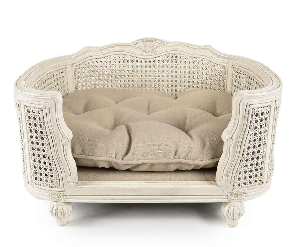 Lord Lou Dog Beds Small Arthur Luxury Webbing Dog Bed by Lord Lou - White/Linen Ecru PetsOwnUs - Pets Own Us