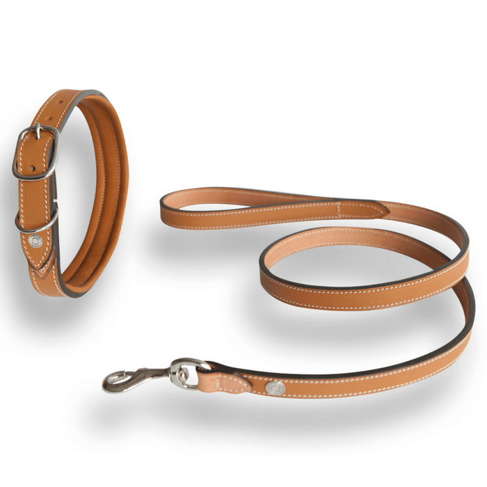 Ascot Hippique Luxury Dog Collar & Lead in Brown by Lord Lou