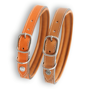 Lord Lou Dog Collar & Lead XXSmall Ascot Hippique Luxury Dog Collar & Lead in Orange by Lord Lou PetsOwnUs - Pets Own Us