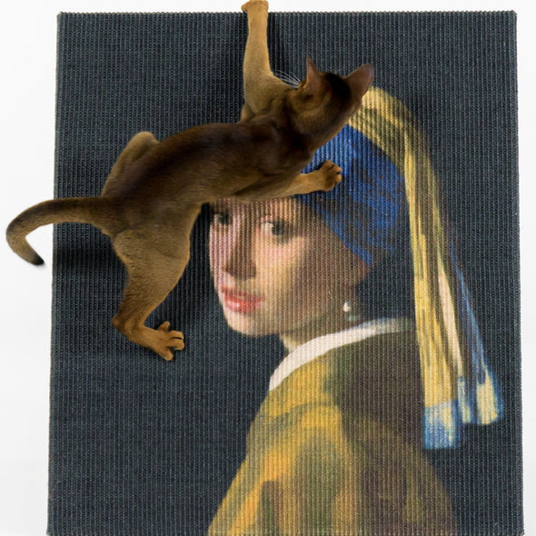 Lord Lou Cat Furniture Default Title Copycat Girl with a Pearl Earring Art Cat Scratcher by Lord Lou 198 PetsOwnUs - Pets Own Us