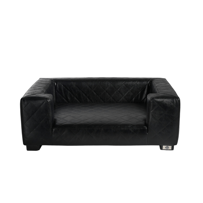 Edoardo Luxury Pet Bed by Lord Lou | Faux Leather | Black
