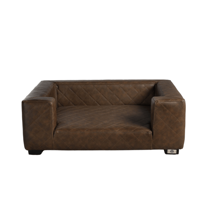Edoardo Luxury Pet Bed by Lord Lou | Faux Leather | Brown