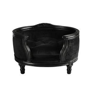 George Luxury Pet Bed by Lord Lou | Black Oak | Upholstered | Black Velvet Dog Beds Bed Type_Luxury Dog Beds, Brand_Lord Lou, Collection_George, Lord Lou Luxury Collection, Material_Oak, Size_Medium, Size_Small Lord Lou